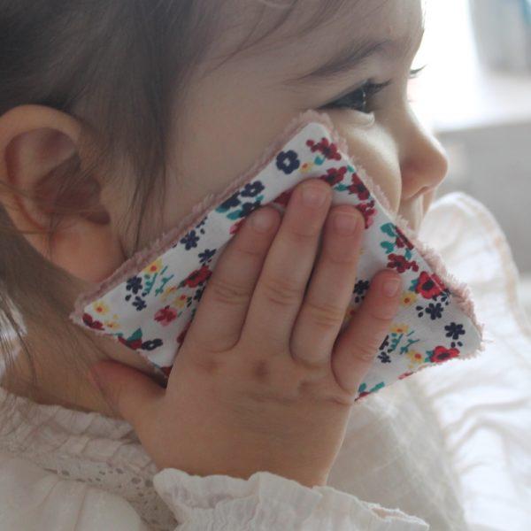 lingette visage -bebe-enfant-coton biologique-bambou-fleur