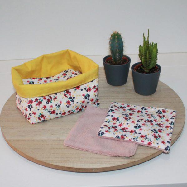 lingette - coton biologique- bambou- bebe -fleur