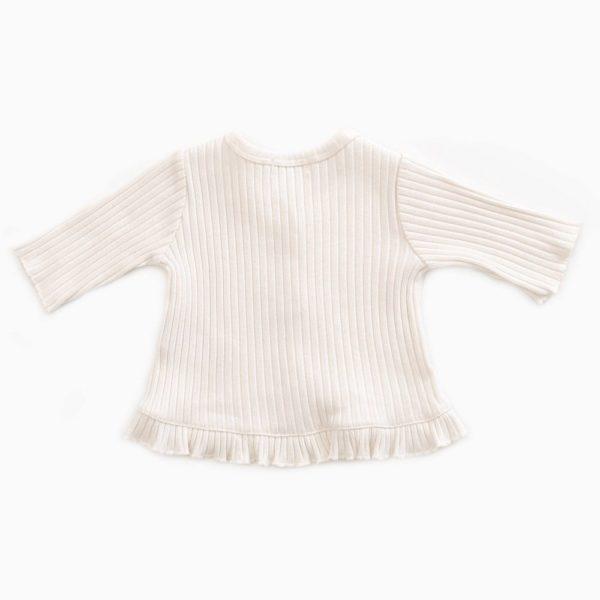 Saison des Abeilles Vetements enfants Habillement bebe coton biologique - bebe - enfant - fille - gilet a volants ecru
