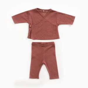 Saison des Abeilles Vetements enfants Habillement bebe coton biologique - bebe - enfant - gilet pantalon rouille