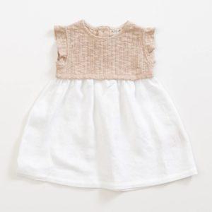 Saison des Abeilles Vetements enfants Habillement bebe coton biologique - fille bebe -robe bicolore beige blanc