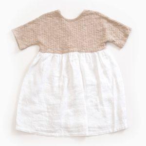 Saison des Abeilles Vetements enfants Habillement bebe coton biologique - fille bebe -robe bicolore beige et blanc