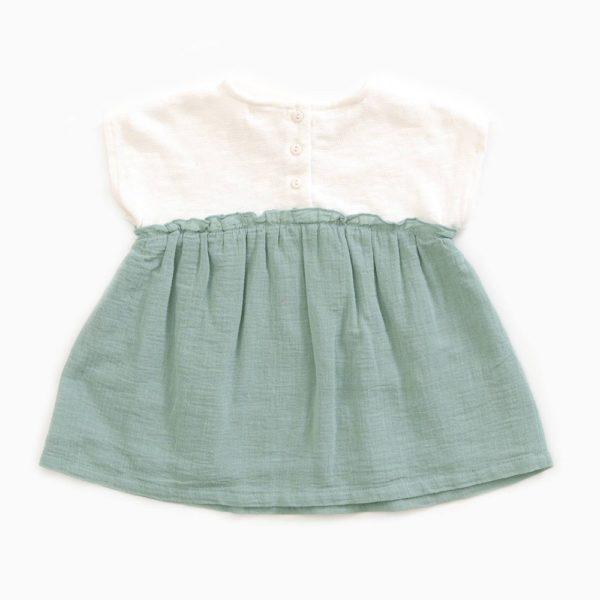 Saison des Abeilles Vetements enfants Habillement bebe coton biologique - fille bebe -robe bicolore blanc bleu