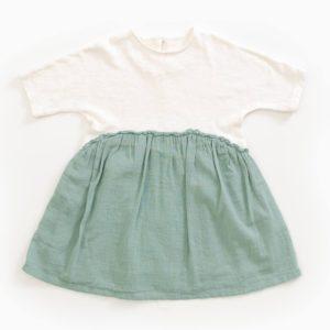 Saison des Abeilles Vetements enfants Habillement bebe coton biologique - fille bebe -robe bicolore blanc vert