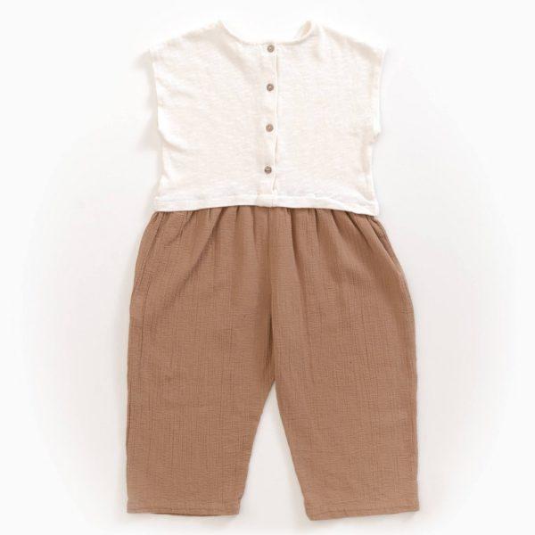 Saison des Abeilles Vetements enfants Habillement bebe coton biologique - fille - combinaison bicolore blanc et marron