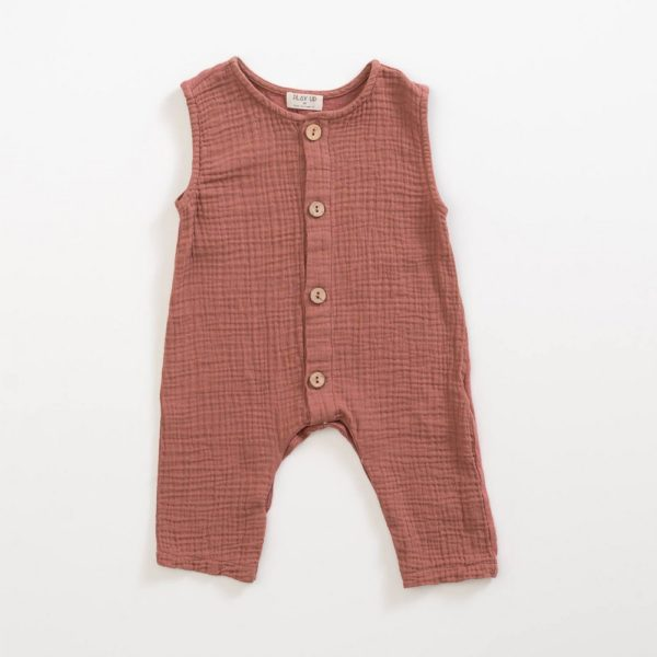 Saison des Abeilles Vetements enfants Habillement bebe coton biologique - fille - combinaison sans manches rouille