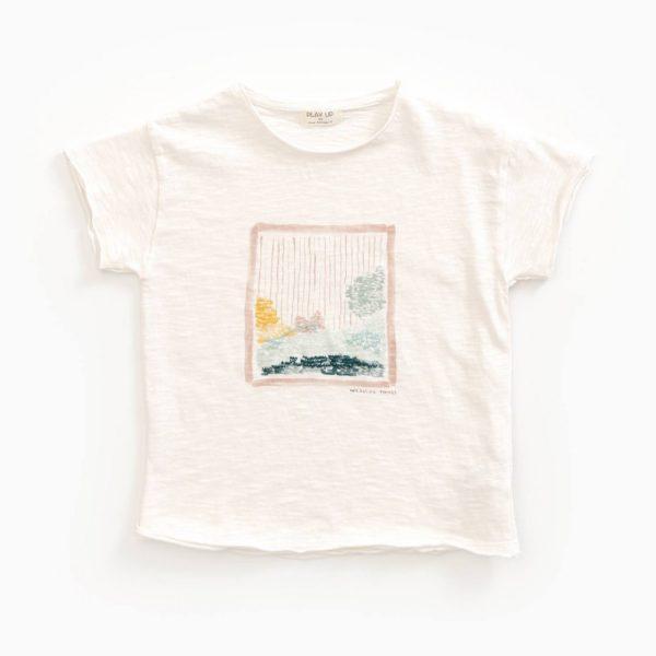 Saison des Abeilles Vetements enfants Habillement bebe coton biologique - garçon - T-shirt beige et dessin paysage
