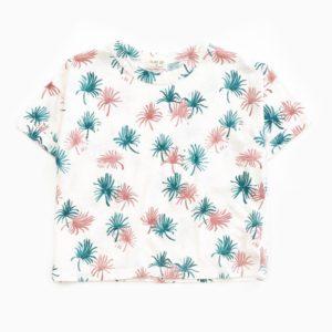 Saison des Abeilles Vetements enfants Habillement bebe coton biologique - garcon - T-shirt blanc et motifs palmier