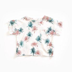 Saison des Abeilles Vetements enfants Habillement bebe coton biologique - garcon - T-shirt blanc et motifs palmier poche