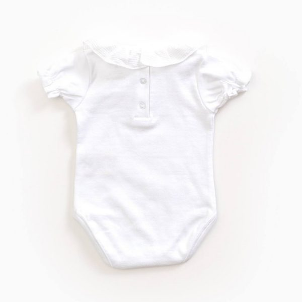 Saison des Abeilles Vetements enfants Habillement bebe coton biologique - fille - Body rose col claudine (2)