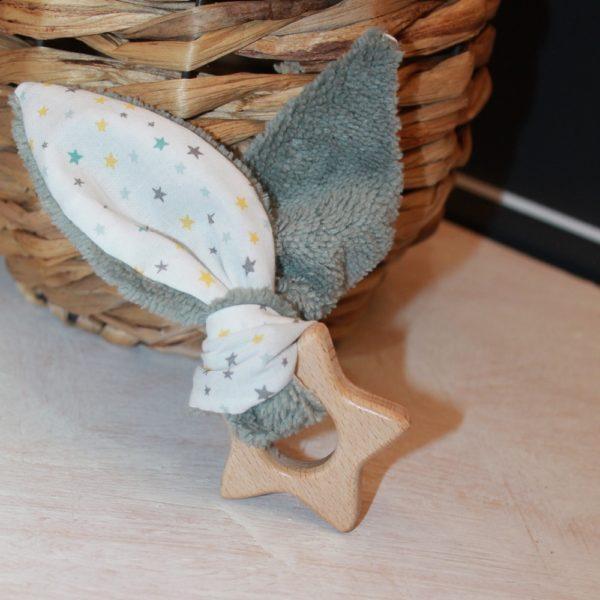 Saison des Abeilles hochet coton biologique -Bambou - bois -bebe - anneau de dentiton- oreille - etoile 4