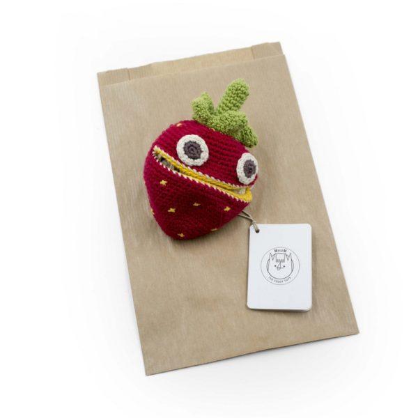 Saison des abeilles Jouet Peluche coton bio bebe enfant fruit fraise reversible