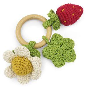 Saison des abeilles Jouet Peluche coton bio bebe enfant hochet grelot legume fruits anneau de dentition