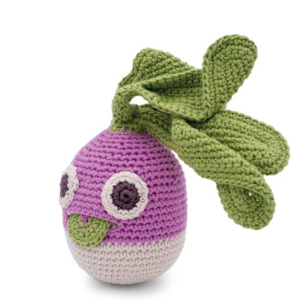 Saison des abeilles Jouet Peluche coton bio bebe enfant hochet grelot legume navet