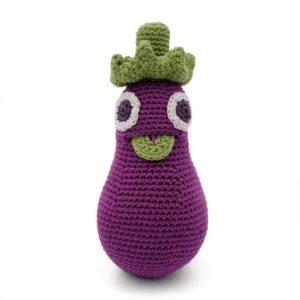 Saison des abeilles Jouet Peluche coton bio bebe enfant hochet legume grelot aubergine