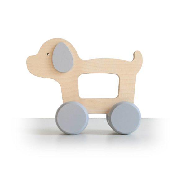Saison des abeilles Jouet ecologique en bois bebe enfant chien roulant gris voiture
