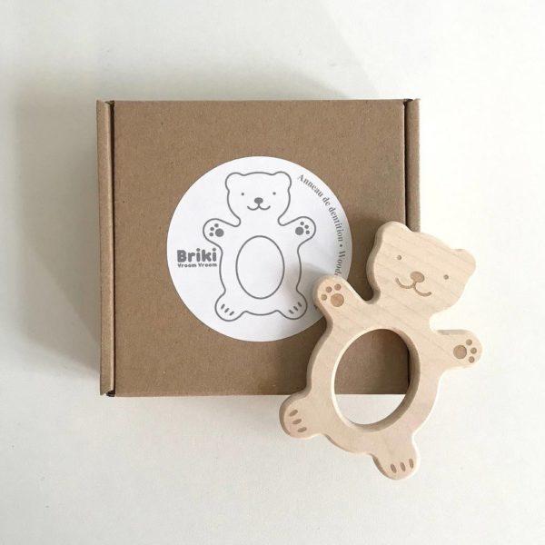 Saison des abeilles Jouet ecologique en bois bebe enfant hochet anneau de dentition ours