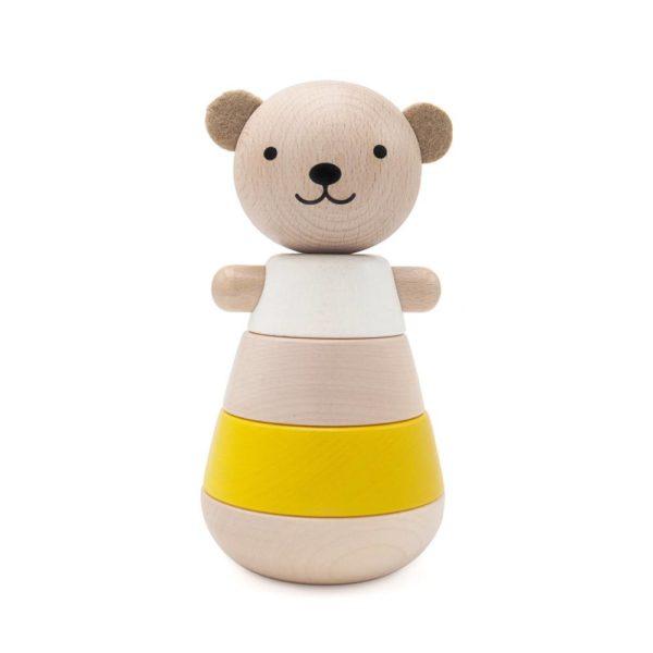 Saison-des-abeilles-Jouet-ecologique-en-bois-bebe-enfant-ours-empilable-jaune