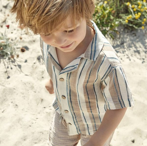 Saison des abeilles Vetements enfants coton bio robe enfant beige chemisette enfant garcon
