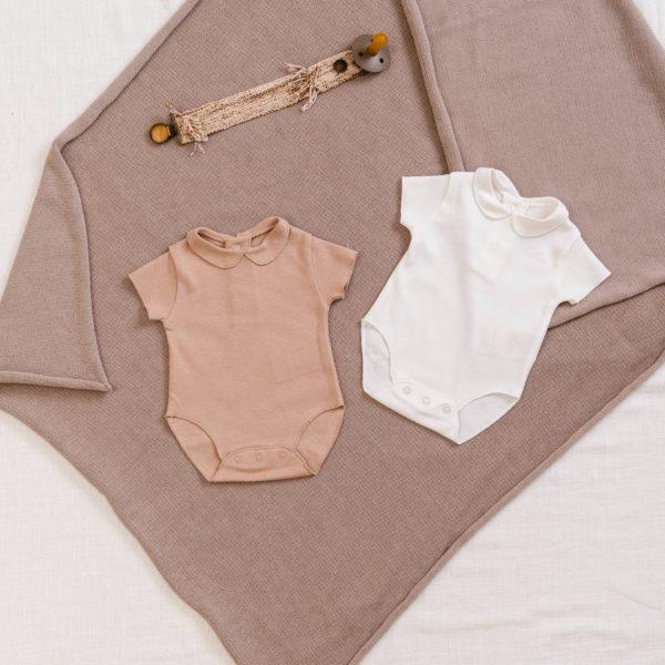 Saison des Abeilles Vetements enfants Habillement bebe coton biologique - fille - Body blanc col claudine