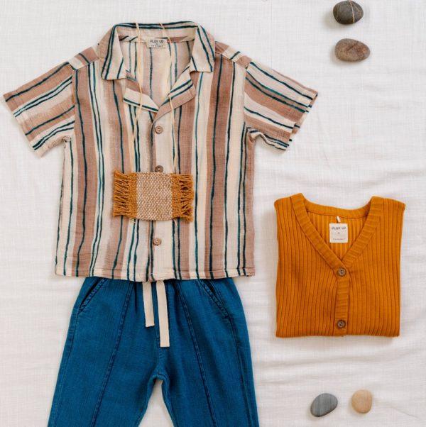Saison des abeilles vetements enfant coton bio chemise a rayures garçon