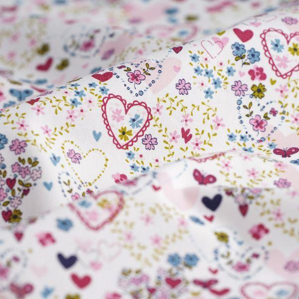 Tissu coton biologique -motifs Coeurs - Saison des abeilles